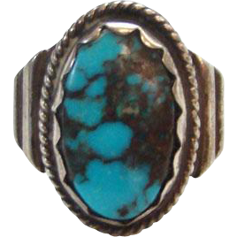 Vintage Navajo Turquoise Ring Size 5.5 Sterling Silver Great Stone Native American
