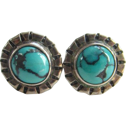 Vintage Signed Sterling Silver Turquoise Earrings Pierced Post Southwestern Tribal Boho Bohemian