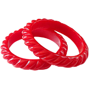 Vintage Cherry Red Rope Twist Bakelite Bangle Bracelet Lot of Two Matching C1930-40