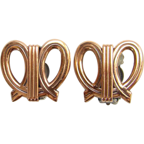Vintage Renoir Designer Modernist Abstract Copper Loop Clip Earrings Signed