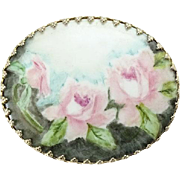 Vintage Hand Painted Porcelain Brooch Pin Three Pink Roses Beautiful