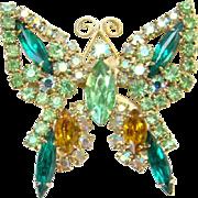 Vintage Emerald Green Rhinestone Figural Butterfly Pin Brooch Goldtone