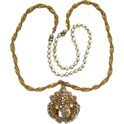 Vintage Miriam Haskell Necklace Baroque Pearl Gilt Metal Filigree Clear Rhinestones
