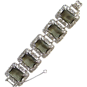 Vintage 1962 Sarah Coventry Celebrity Rhinestone Bracelet Smoky Quartz Signed