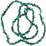 Vintage Green Malachite Gemstone Strung Nugget Bead Necklace 35 Inch