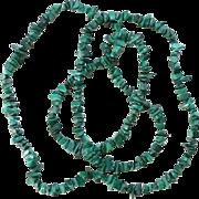 Vintage Green Malachite Gemstone Strung Nugget Bead Necklace 35 Inch