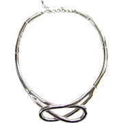 Vintage Monet Silvertone Collar Choker Necklace with Tag Signed