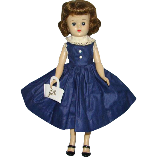 C1958 Vogue Jill Doll Brunette Angel Cut in Navy Polished Cotton Dress White Purse