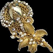 Vintage Miriam Haskell Rhinestone Filigree Pearl Gilt Metal Brooch Signed
