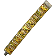 Antique Rare Japanese Panel Bracelet Tells Story Hand Painted on Mother of Pearl