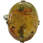 Old Japanese Story Ring Handpainted on Mother of Pearl Size 5.5