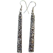 Vintage Native American Style Totem Pole Repousse Pierced Dangle Earrings Marked Sterling