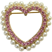 Vintage Pink Rhinestone Heart Shape Sweetheart Pin with Faux Pearl