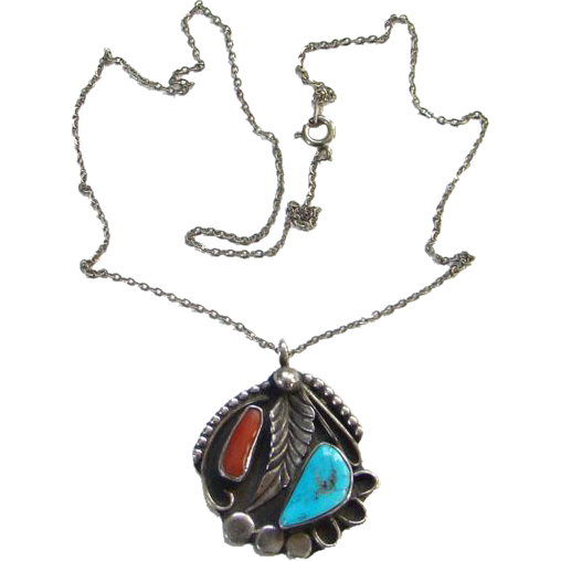Vintage Morenci Turquoise Coral Native American Pendant Necklace Charles E Clark Sterling