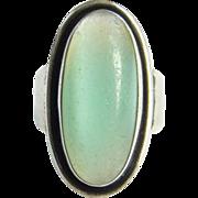 Carl Ove Frydensberg COF Denmark Danish Mid Century Modernist Sterling Silver Ring Size 9 Green Stone