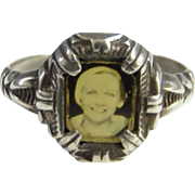 C1900-1920 Art Deco Sterling Silver Picture Photo Memory Ring Size 10.5 Uncas Mfg Co Providence RI