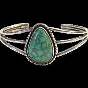 Vintage Native American Turquoise Cuff Bracelet Spider Web Matrix Signed MJS Sterling