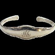 Vintage Sterling Silver Spoon Cuff Bracelet Monogrammed JKK Hallmarked Sterling