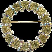 Vintage Peridot Aurora Borealis Rhinestone Circle Pin Brooch Goldtone