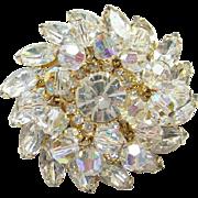 Juliana Clear Rhinestone Bead Dangle Brooch Pin DeLizza Elster Verified