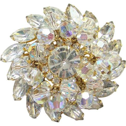 Juliana Clear Rhinestone Bead Dangle Brooch Pin DeLizza Elster Verified