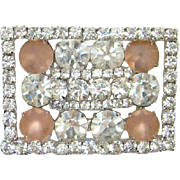 Vintage Kramer of New York Clear Pink Frosted Rhinestone Frame Brooch Signed