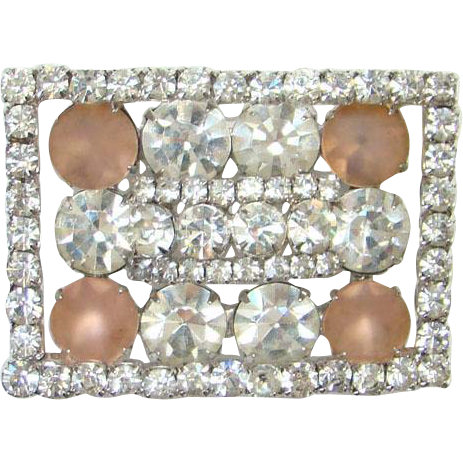 Vintage Kramer of New York Clear Pink Frosted Rhinestone Frame Brooch Signed