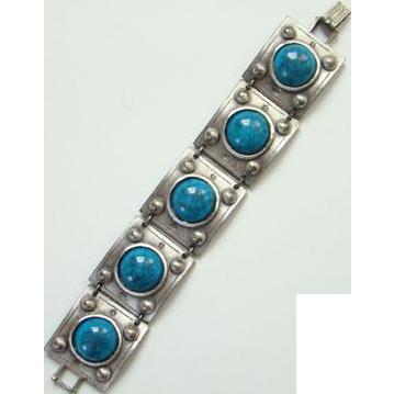 Vintage Faux Turquoise Silvertone Link Panel Bracelet Art Glass Bohemian Chic