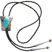 Ella Mae Wylie Navajo Turquoise and Sterling Silver Bolo Tie Atkinson Trading Co 1970s