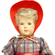 C1938 Steiff Lore Doll with Tag Pressed Felt Face Mohair Wig Original Clothing 14 Inch Rare