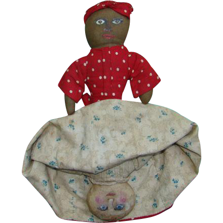 Antique Primitive 19thC Handstitched Black White Cloth Rag Topsy Turvy Doll Handpainted Faces 14 Inch