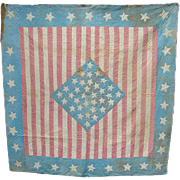 Rare 1861 Stars Stripes Bed Quilt 34 Star Kansas Petersons Magazine Civil War Period