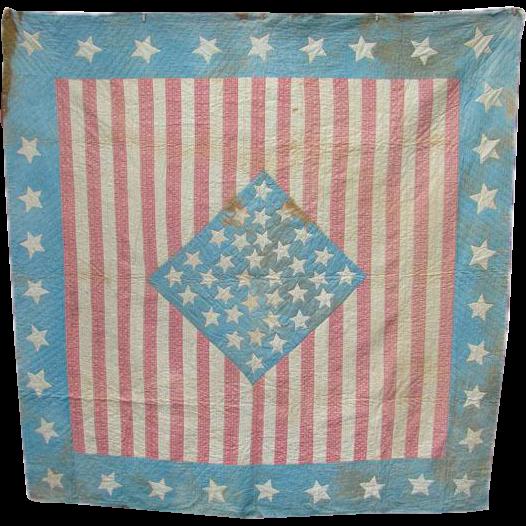 Rare 1861 Stars Stripes Bed Quilt 34 Star Kansas Petersons Magazine Civil War Period