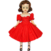 Cissette Doll Brunette in Red Cotton Dress Drop Waist Madame Alexander C1957