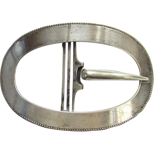 Antique German Silver Oval Sash Buckle Very Large Size Marked Antique