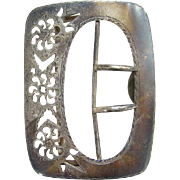 Antique Sterling Silver Buckle Marked 63 Sterling Floral Filigree Work Antique