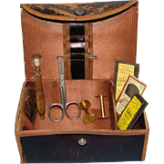 Shaker Sewing Box Kit Bronzed Leather with Sewing Tools Brown Silk Interior Pin Cushion Needlebook Old