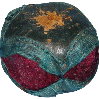 Sewing Pin Cushion Case Holder Blue Leather Burgundy Velvet Needles Pins Old Possibly Shaker Made