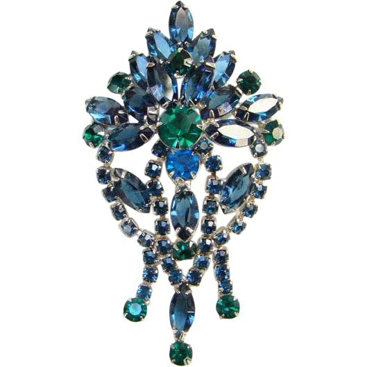 Gorgeous Emerald Green Blue Rhinestone Brooch Pin Hinged Dangles Silvertone Costume Jewelry