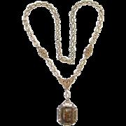 Victorian Gold Filled Sardonyx Cameo Necklace Ulysses Athena Double Portrait