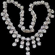 Art Deco Clear Crystal Drop Dangle Choker Necklace Gilt Metal Setting Open Back