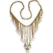Art Deco Flapper Era Waterfall Choker Bib Necklace Clear Crystal Bead Dangles