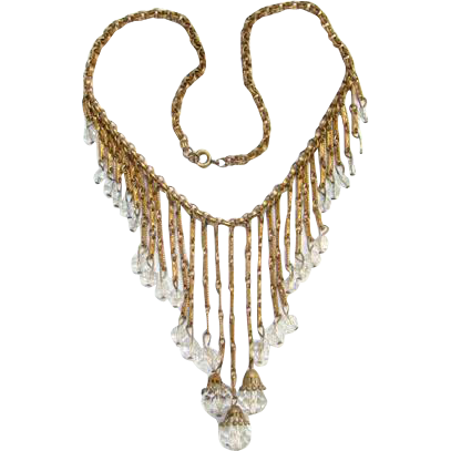 Art Deco Flapper Era Waterfall Choker Bib Necklace Clear Crystal Bead Dangles