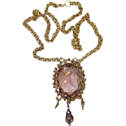 Vintage Victorian Style Amethyst Rhinestone Glass Pendant Necklace Antiqued Goldtone
