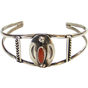 Vintage Native American Navajo Red Coral Cuff Bracelet Sterling Silver