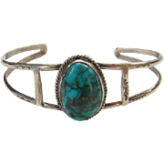 Vintage Navajo Turquoise Cuff Bracelet Gorgeous Stone Sterling Silver Native American