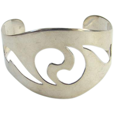 Sterling Silver Cuff Bracelet Abstract Design Cut Out Modernist Style Vintage