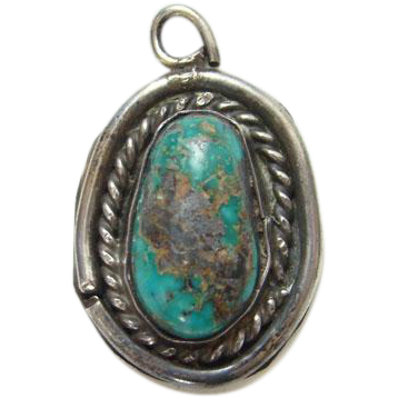 Southwestern Turquoise Sterling Silver Necklace Pendant Small Size Navajo Style