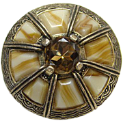 Vintage Miracle Brooch Pin Scot Scottish Scotland Celtic Faux Agate Glass Topaz Rhinestone