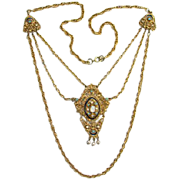 Florenza Renaissance Style Hinged Rhinestone Pendant Necklace Triple Chain Costume Jewelry